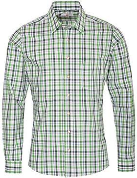 Almsach Trachtenhemd helge Slim Fit Zweifarbig in Hellgrün und Dunkelgrün Inklusive Volksfestfinder
