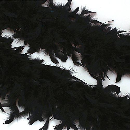VEVICE 1pcs Turquía Plumas Boas Bufanda DIY hogar Boda Fiesta Bailar Ropa Accesorios decoración, Pluma, Negro, 200cmx12cm