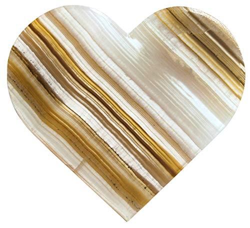 Hermosa Figura de corazón de ónix ámbar de 10 cm de Largo, 10,16 cm de Ancho, 0,63 cm de Alto (0,4 LB) – Tallado de la Real Onyx Aragonita de América del Norte – La Serie Artesana Mined de HBAR