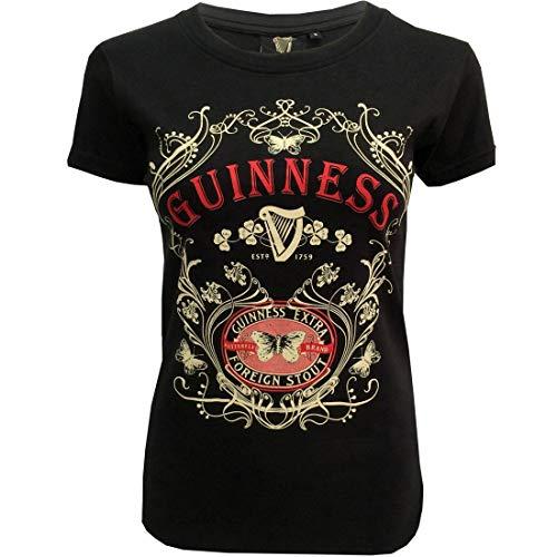 Guinness Damen BLK Guin Butterfly T T-Shirt, Schwarz Black, 42(Hersteller Größe: X-Large) -