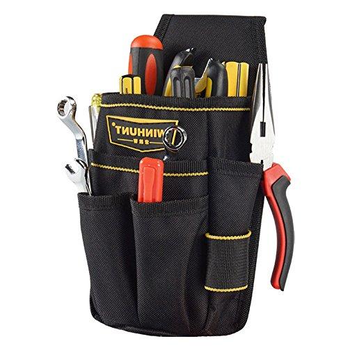 baffect Leinwand Werkzeug Tasche kleine Tasche Werkzeugtasche mit Gürtel Heavy Duty Professional Verstellbare Nylon Taille Beutel Gürtel Arbeit Tasche für Elektriker technician-black