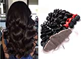 Moresoo 7a 3 Stucks Lose Gewellt/ Loose Wave Brasilianisch Virgin Mensch Haare Weave with 1 Piece Ear to Ear 13x4 Frontal Lace Closure with Baby HaareBleach Knots Naturschwarz 12