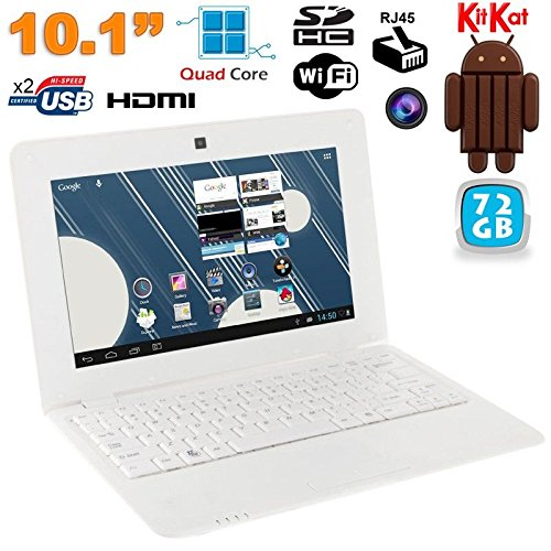 Mini PC Android 4.4 NETBOOK Ultra portatile 10 pollici Wi-Fi 72 GB Bianco