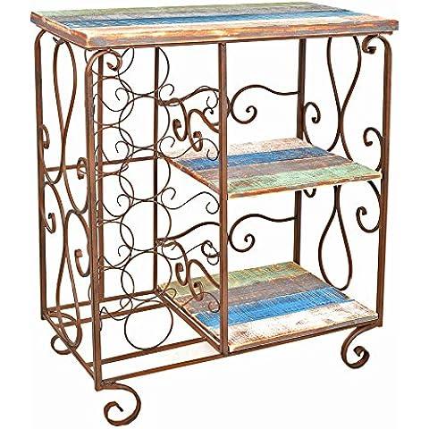 Cómoda estantería estante de vino botellero de madera y hierro estilo vintage rustico shabby industria para baño pasillo cocina
