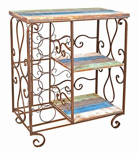 Cómoda estantería estante de vino botellero de madera y hierro estilo vintage rustico shabby industria para baño pasillo cocina sala