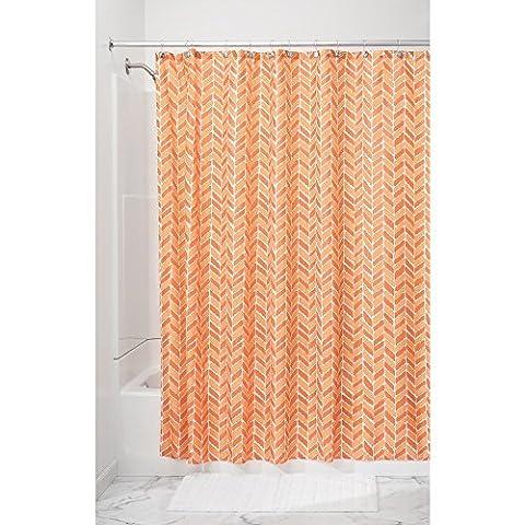 InterDesign Nora Textil Duschvorhang | Duschabtrennung in 183 cm x 183 cm | waschbarer Stoffvorhang für Badewanne und Duschwanne mit Fischgrät-Muster| Polyester orange