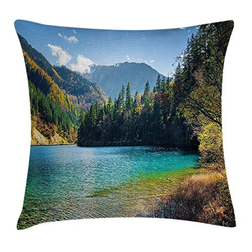 KAKICS Landscape Throw Pillow Cushion Cover, View of National Park in China Arrow Bamboo Lake Autumn Colored Woods Mountains, Decorative Square Accent Pillow Case, 18 X 18 Inches, Green Blue China Blue Royal Satin