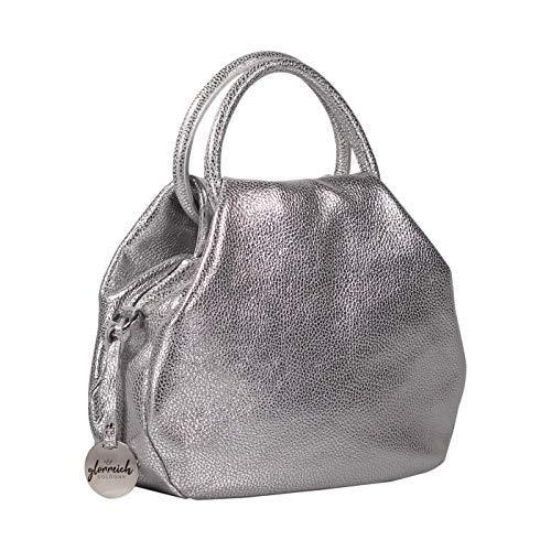 Handgefertigte Designer-handtaschen (glorreich COLOGNE Luxus Designer Handtasche für Damen aus echtem Leder von feinster Qualität - Umhängetasche in silber - handgefertigt in Italien)