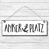 Ankerplatz - Anker maritim Dekoschild Türschild Wandschild aus Holz 10x30cm - Holzdeko Holzbild Deko Schild