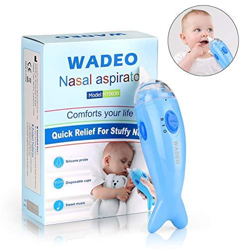 WADEO Nasensauger Baby Elektrisch Nasal Aspirator mit Musik 2 Saugniveaus Nasenschleimentferner Sicherer Schneller Waschbar Wiederverwendbar für Neugeborene und Kinder