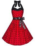 Zarlena Damen 50er Retro Rockabilly Polka Dots Petticoat Neckholder Kleid Rot mit schwarzen Dots Medium 1605