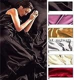 Completo MATRIMONIALE RASO set lenzuola sopra sotto con angoli 2 fodere cuscini 6 colori mod.SET LENZUOLA RASO NERO (F)
