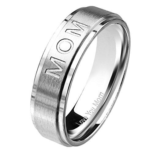 Mianova Damen Band Ring Edelstahl gebürstet Bandring Ehering Damenring Partnerring mit Love You Mom Gravur Silber Größe 49 (15.6) (Ringe Mom Größe 10)
