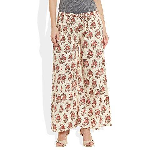 Baumwolle bedruckt Palazzo-Hose für Frauen Indian weiß2