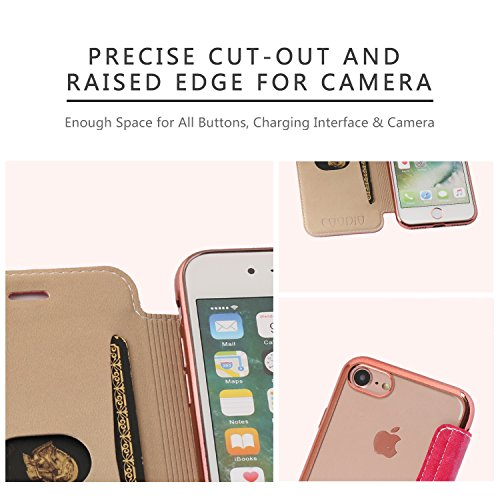 Coque iPhone 6S / 6, Coodio Étui Housse en Cuir Portefeuille Folio Coque de Protection avec emplacement de carte transparente en TPU Silicone Coque Pour iPhone 6S / 6 - Noir Rose