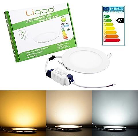 Liqoo® 9W redondo 150 x 150 x 13 mm de alta potencia LED Panel Delgado ultradelgado 675 Lumen 2800K 4200K 6500K blanco cálido fresco blanco luz diurna proyector luz de la lámpara del punto Foco empotrado Lámpara de techo incl. Transformador LED inteligente 3in1