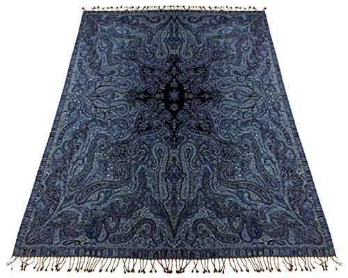 LORENZO CANA Luxus Wolldecke jacquardgewebt aus feinster Wolle vom Merino - Lamm Paisley Blau...