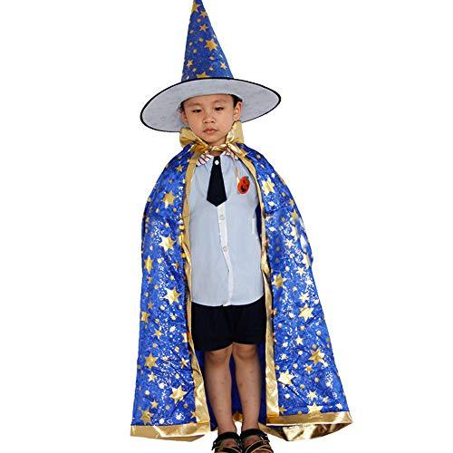 Riou Kinder Langarm Halloween Kostüm Top Set Baby Kleidung Set Kleinkind Kinder Baby Mädchen Halloween Kleidung Kostüm Zauberer-Hexe-Umhang-Kap-Robe und Hut für Baby (Höhe: 100-160cm, Blau)