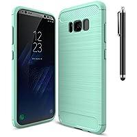 Funda Samsung Galaxy S8 Plus, CaseFirst Funda Cover Texture Carbon Fiber Back Bumper Carcasa Protección Contra Las Caídas Anti-Rasguños Delgado Slim Back Cover para Menta verde