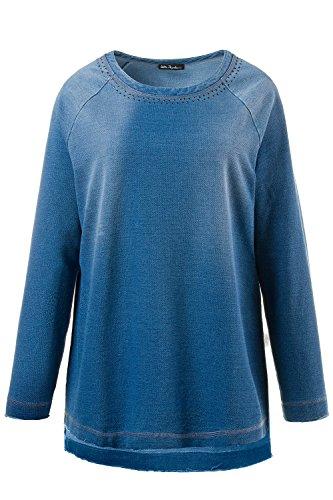 Ulla Popken Femme Grandes tailles Pull Sweat Manche Longue Manteau - Col rond 709039 Bleu