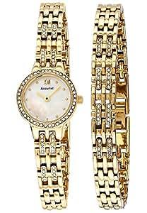 Ladies Accurist Gold & Crystal Watch & Bracelet Gift Set LB1445