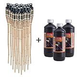 Topgoods 18 x Gartenfackel Bambusfackel 90cm mit 3 x 1 Liter geruchsloses Lampenöl hochgereinigt