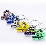 Elektro Turbo Schlüsselanhänger - Mit Sound & Licht Turbolader Keychain chrom Metall Anhänger Schlüssel (chrom-matt Optik)