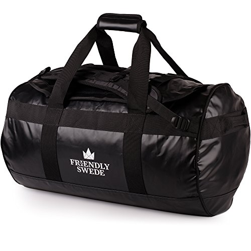 The Friendly Swede wasserfeste Reisetasche - Seesack, Duffle Bag (schwarz)