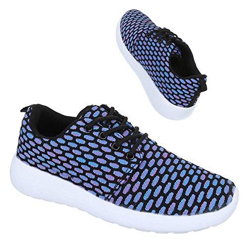Ital-Design Damen Schuhe Trendige Sportschuhe Freizeitschuhe Blau Schwarz