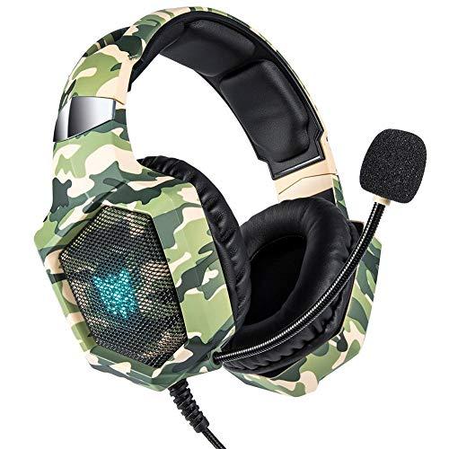 Auriculares K8 para juegos, estéreo envolvente, auriculares con micrófono con cancelación de ruido, luces LED y orejeras de memoria suave, funciona con Xbox One, PS4, Nintendo Switch, PC Mac Juegos de