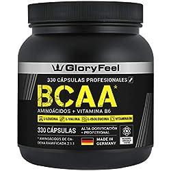 GloryFeel® BCAA 330 Cápsulas - Aminoácidos esenciales Leucina, Valina e Isoleucina más Vitamina B6 - Probado en laboratorios y sin aditivos - Fabricado en Alemania