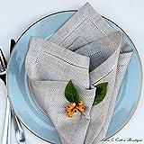 Linen & Cotton 4 x Stoffservietten Herringbone mit Hohlsaum Oxford Natur/Beige - 100% Leinen - 3