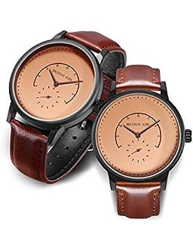 ❄Weihnachtsgeschenk❄Klassische Paare Uhren Quarz Analog Display 30M wasserdicht mit braunem Lederarmband & Einzigartiger...