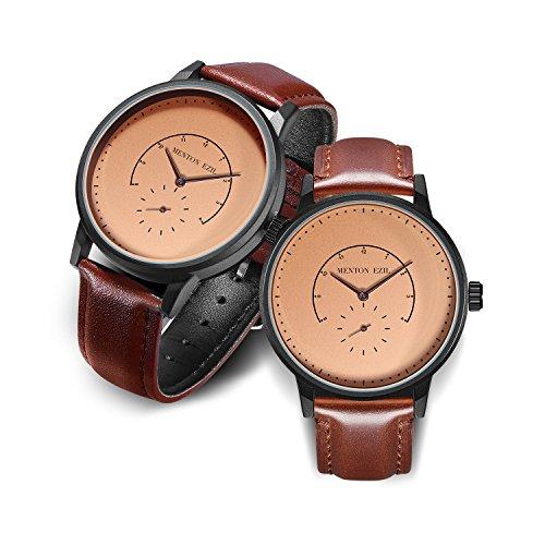 Elle et lui ❄ des cadeaux de noël ❄ affichage analogique classique de 30 couples de montres à quartz résistent à l'eau la sangle de cuir brun - deuxième main
