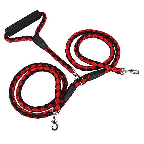 Hot Verkauf Verstellbar Praktisches Haustier Hund Traktion Seil Leine trainging führen Kette Halskette Halsband One Size für die Ausbildung von Twei Hunden (125cm, Rot)