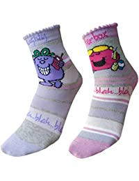 4 Pairs - Childrens Girls Mr Men Little Miss Socks - Little Miss Naughty - Little Miss Giggles - Little Miss Chatterbox