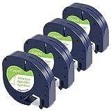 ersatz Dymo Etikettenband DYMO Letratag XR LT-100h Etiketten Papierband Schwarz auf Weiß 12mm x 4m Nachfüller Dymo 91220 91200 S0721510 Schriftband Papier Weiß für Dymo LT-100H LT-100T XR, 4 Rolle