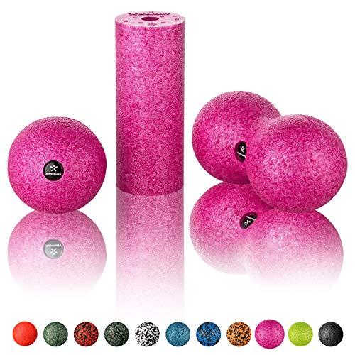 Ball D8cm und Duo-Ball BODYMATE Faszien Mini-Set Mini-Faszien-Rolle L15xD6cm