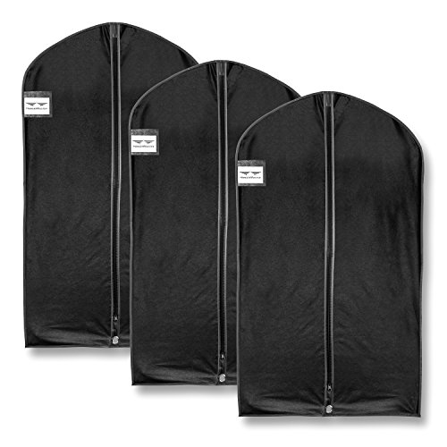 Kostüm Reißverschluss Klebeband - HangerMaster Kleidersack für Anzug,atmungsaktive Schutzhülle und Tasche, 110cm,Schwarz,3Stück, Synthetisch, schwarz, 110cm (44