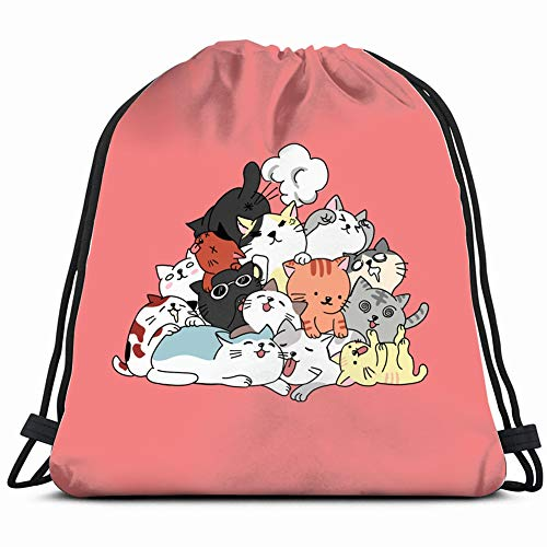 Funny&shirt cat Art Animals Wildlife The Arts Gym Sack Bag Drawstring Sport Beach Travel Outdoor Backpack for Women 17X14 Inch