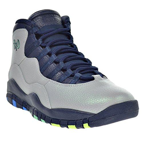 Nike Air Jordan Retro 10, Chaussures de Sport-Basketball Homme, Gris wolf grey/pht bl-obsdn-grn glw