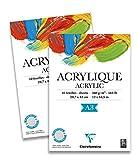 Clairefontaine 96309C Acrylique Acrylpapier Block (verleimt, 10 Blätter, 360 g, speziell für Acrylfarben und Gouache geeignet, DIN A3, 29,7 x 42 cm) weiß