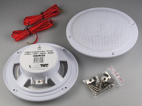 """2x wetterfeste Marine Außen Einbau-Lautsprecher 80W 5"""" = 127mm"""