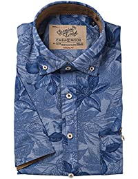 Casa Moda Hemd Denim Look Casual Fit Druck blau Button Down Halbarm
