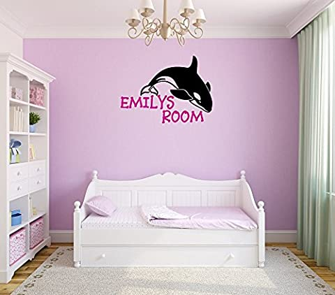 Killer whale girls bedroom wall decal