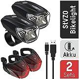 ANSMANN Bikelight Combo 2er Pack Fahrradlicht Set StVZO zugelassen - Akkubetrieben und aufladbar über USB, CREE LED, Kunststoff, Schwarz, 2