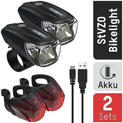 ANSMANN Fahrradbeleuchtung Set StVZO zugelassen - Akkubetrieben und aufladbar über USB, CREE LED, regensicher, einfache Montage, abnehmbar - Fahrradlampen Frontlicht & Rücklicht (2er Pack)