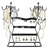 VENKON - Design Schmuckständer Ohrringhalter Kettenhalter Schmuck Organizer aus Metall - schwarz - 35,5 x 34 x 12,5 cm