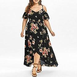 Dresses Plus Size Women Casual Cold Shoulder Short Sleeve Boho Floral Printed Split Long Maxi Dress