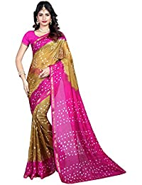 Shree Sondarya Bandhani Green And Pink Tussar Silk Bandhani Saree With Blouse Piece